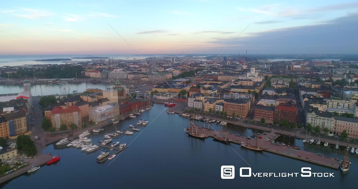 The Coast of Helsinki, Aerial View Towards the Cityscape and Churches of Helsingfors, on a Sunny Summer Morning Dawn, in Hels...