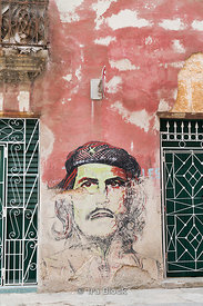 An altered mural of Che Guevara in the Old City, Havana, Cuba