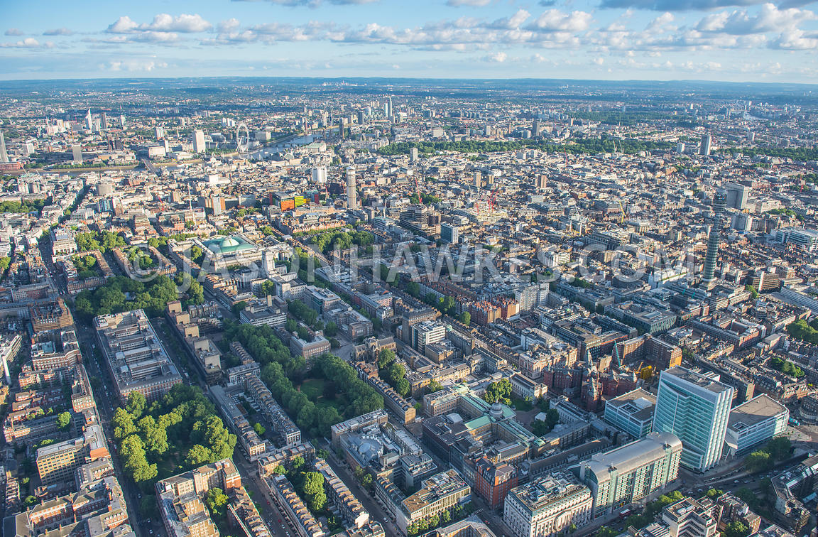 Aerial view of London, University College London, Bloomsbury, The British Museum., London West End, Gower St.