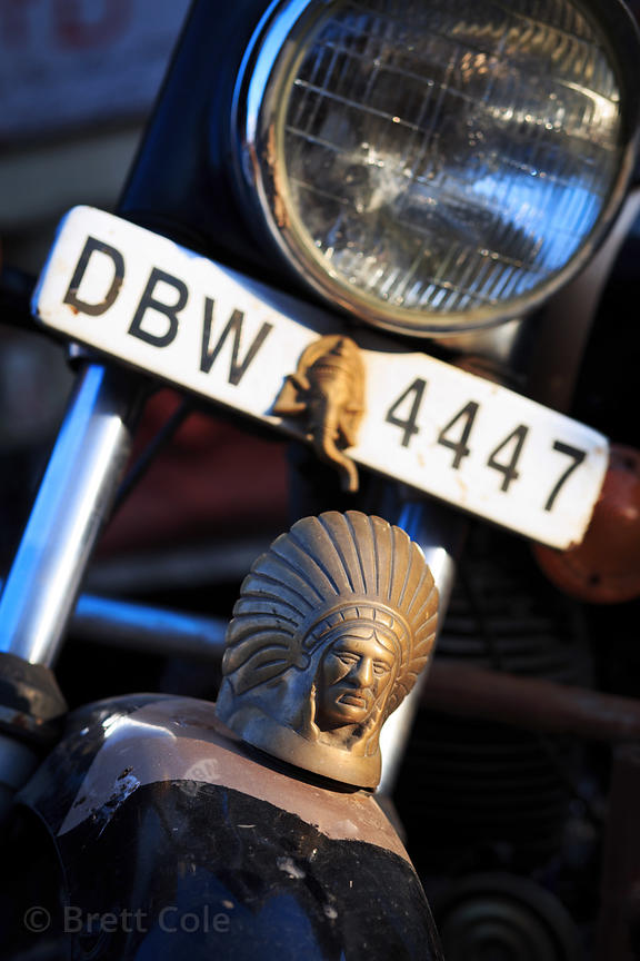 Indian statuette on a Royal Enfield motorcycle, Pushkar, Rajasthan, India