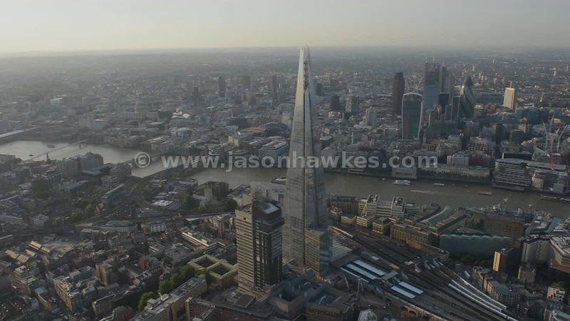 Aerial footage of the Shard showing the City behind