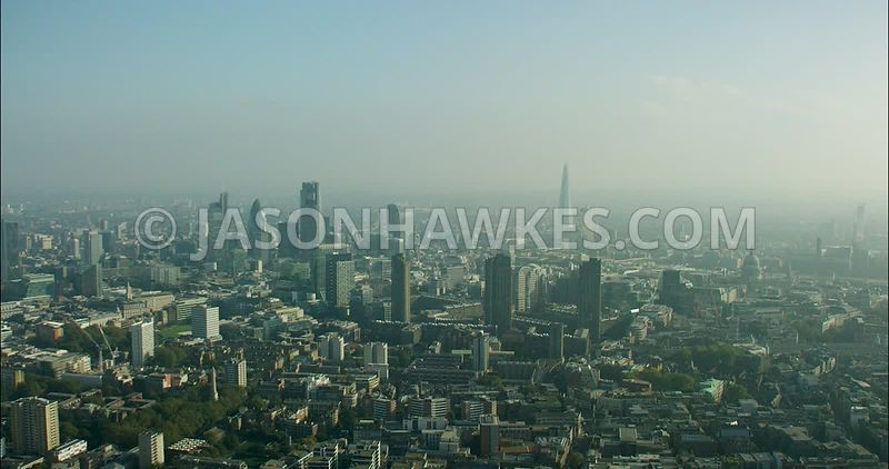 London Aerial Footage of the Barbican towards City of London Skyline