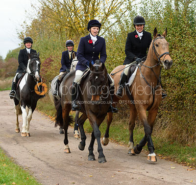 Sallyanne Brooksbank, Anna Hanson on Newbold Road. The Cottesmore Hunt at Somerby