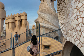 "A view of the roof top of Casa Milà, popularly known as La Pedrera or ""The stone quarry"" in Barcelona, Spain"