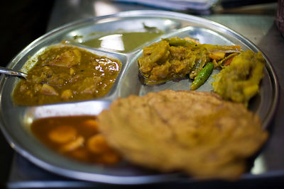 India - Delhi - A meal on a plate at the famous Paranthe wali  restaurant