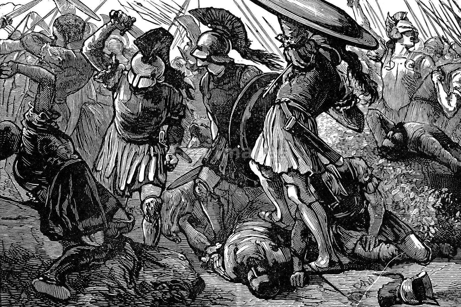 Thebans and Macedonians in battle