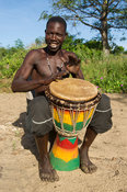 Traditional djembe drummer, Jinack, the Gambia