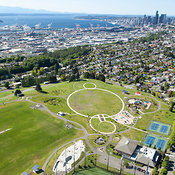 Jefferson Park, Puget Sound and downtown skyline; Seattle, WA
