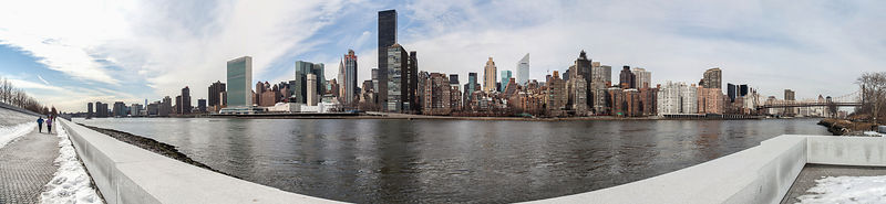 Panoramic view of Manhattan as seen from Roosevelt Island, NY