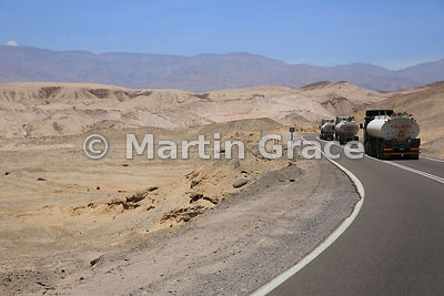 Fuel tankers on the road from the Arica to La Paz in Bolivia, Upper Lluta Valley, northernmost Atacama Desert, Region XV Aric...