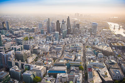 Aerial view of London, Gresham Street towards City of London skyline with Old Broad Street and Angel Court Tower.