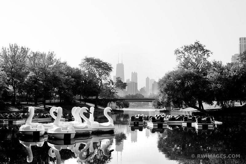 SWAN BOATS SOUTH POND LINCOLN PARK CHICAGO BLACK AND WHITE