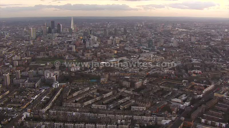 Aerial footage of Hoxton, London