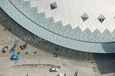 Aerial view of glass dome, King's Cross station, London