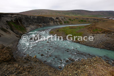 Skjalfandafljot river below Godafoss waterfall, Bardardalur Valley, Iceland