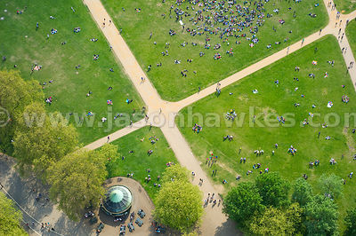 Aerial view over Hyde Park, London
