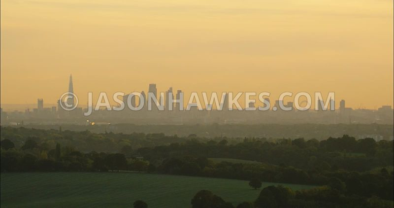 London Aerial Footage of City of London Skyline at dawn.