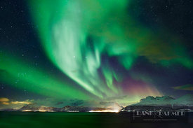 Polar light (Aurora Borealis) over Lyngenfjord - Europe, Norway, Troms, Lyngenfjord, Odden (Lapland) - digital