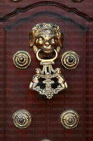 Detail of door knocker of Archbishop's Palace, Lima, Peru