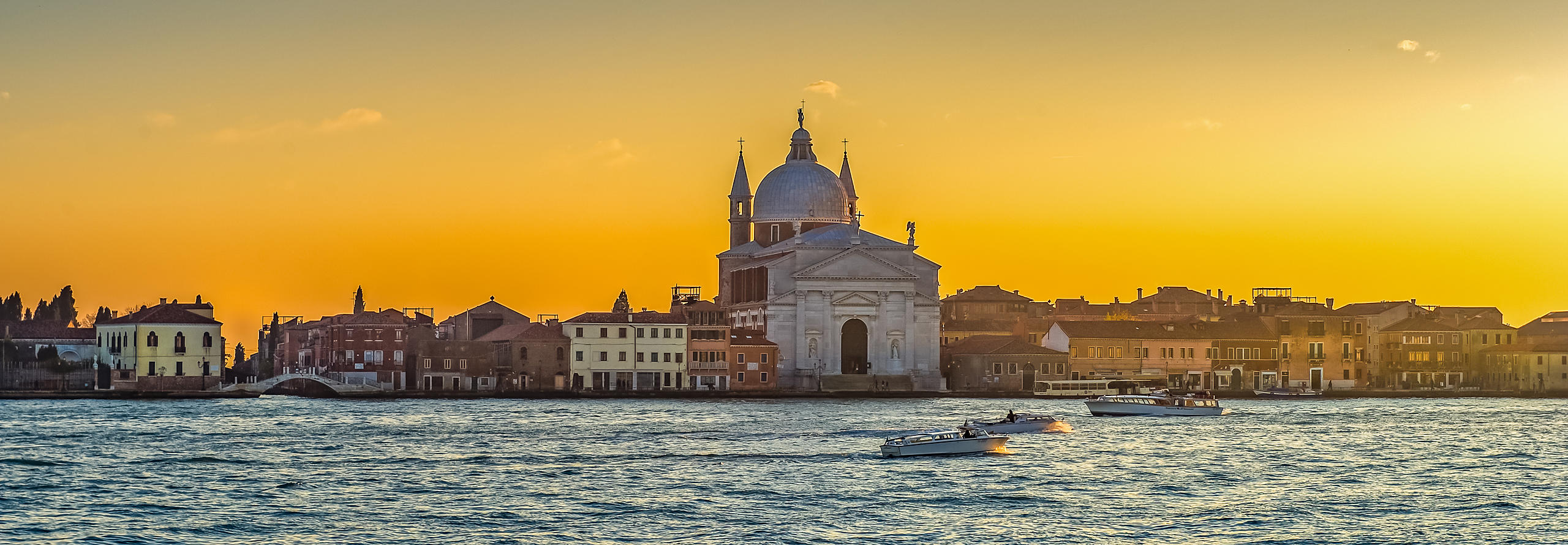 Chiesa Del Redentore, Giudecca with Water Taxis in the Grand Canal, Venice