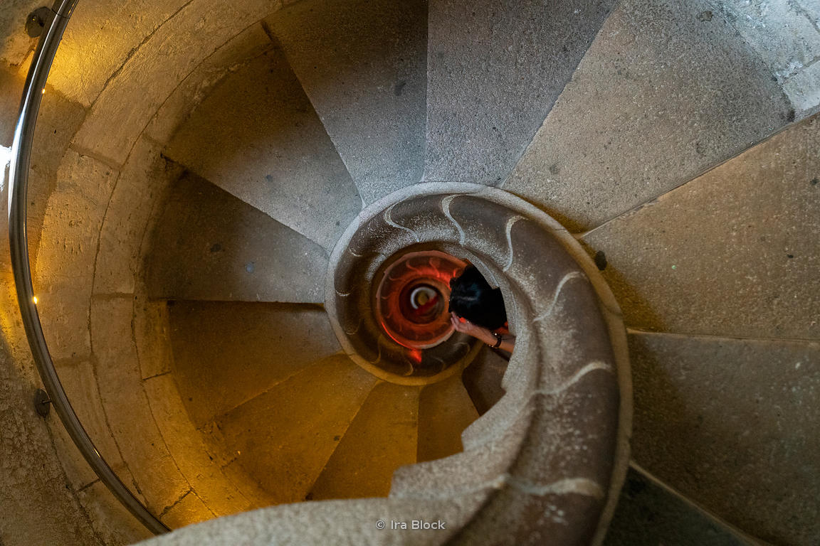 Staircase inside the Sagrada Família church in Barcelona, Spain.