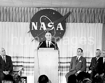(23 July 1961) --- Astronaut Virgil I. (Gus) Grissom speaks at a press conference on July 23, 1961 held at the Starlight motel