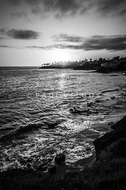 Laguna Beach Sunset Black and White Picture