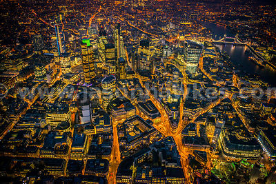 Aerial view of Bank and the City at night, London