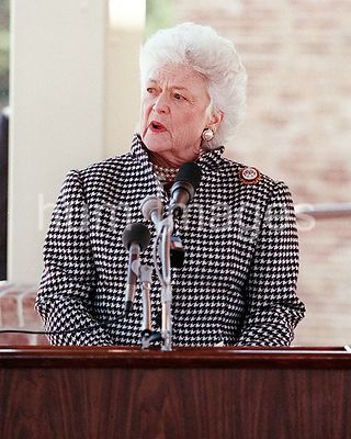 First lady Barbara Bush speaks during the dedication of the Arleigh Burke Pavilion.  The pavilion, named for a former chief o...