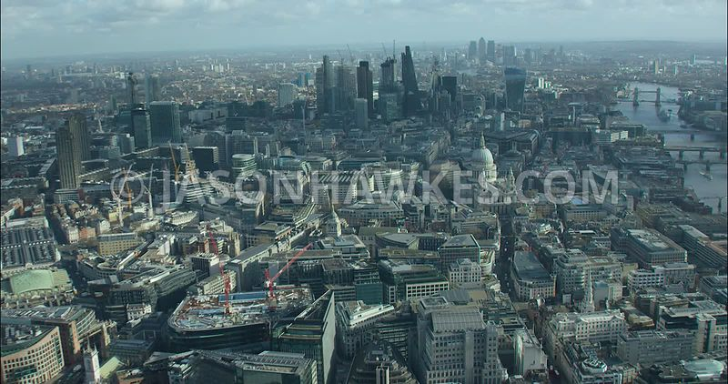 London Aerial footage, City of London with St Paul's Cathedral.