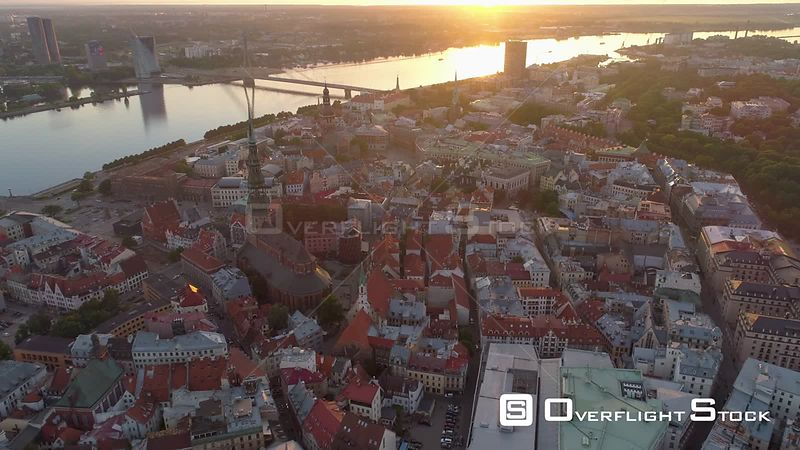 Aerial drone shot of Riga Old town during sunset
