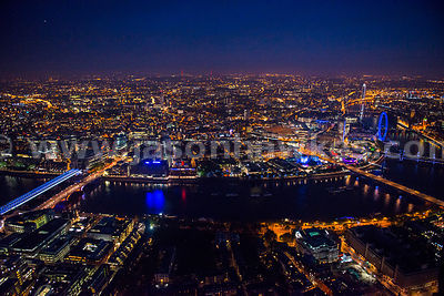 Aerial view of South bank at night, London