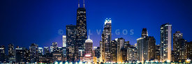 Chicago Panorama Skyline at Night Blue Tone
