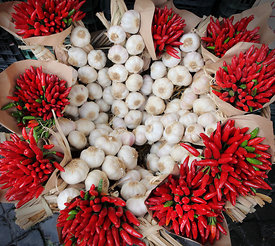 Chilli peppers and garlic