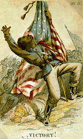 Card depicting African-American soldier in Civil War