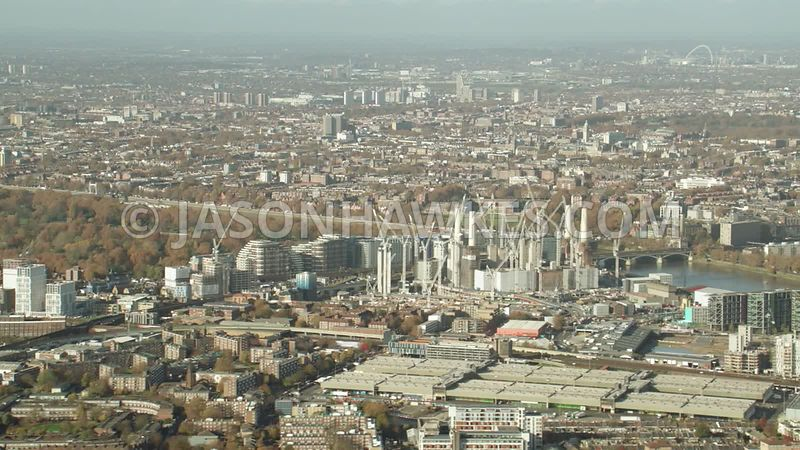 Battersea, Nine Elms, aerial footage, London