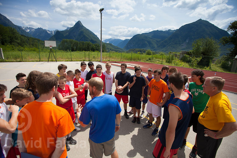 American basketball coach Richard Tisdale, has a speech at Bovec Basketball Campus after a training workout