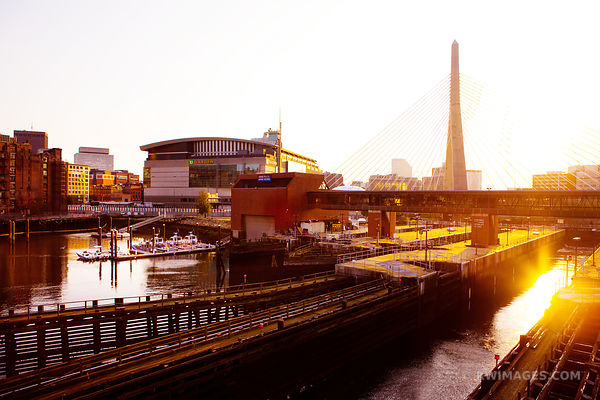 BOSTON LOCKS ZAKIM BRIDGE SUNSET