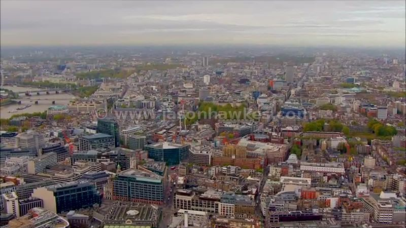 Aerial footage over Holborn, London
