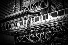 "Chicago Elevated ""L"" Train in Black and White"