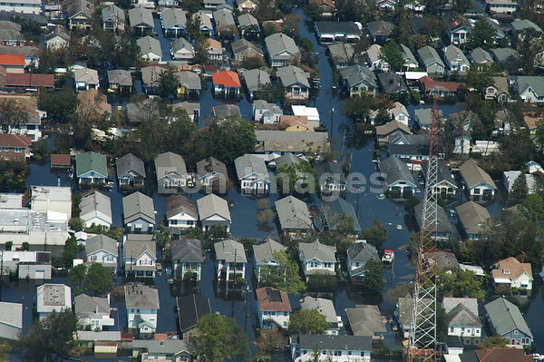 Aerial view of houses swamped by Katrina floodwaters