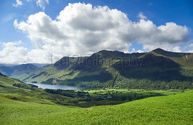 Summits of High Crag, High Stile and Red Pike above Buttermere on a sunny day in the English Lake District, UK.