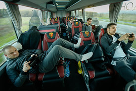 Petar ANGELOV, Alex DUJSHEBAEV of Vardar during the Final Tournament - Final Four - SEHA - Gazprom league, team arrival in Va...