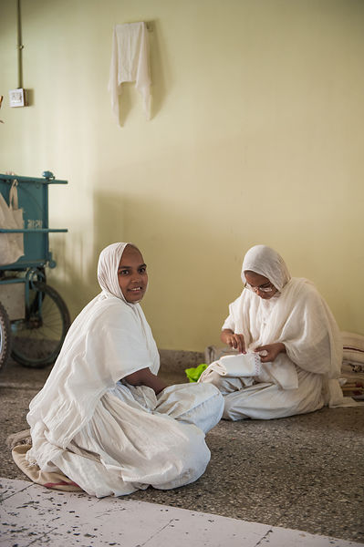 This photograph of jain monks was taken in Ahmedabad, Gujarat