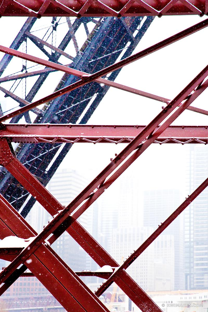 KINZIE BRIDGE WINTER DAY HEAVY SNOWFALL CHICAGO ILLINOIS COLOR VERTICAL