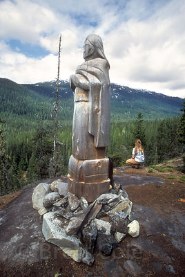 Statue placed by native Squamish peope in the embattled Elaho Valley, British Columbia,