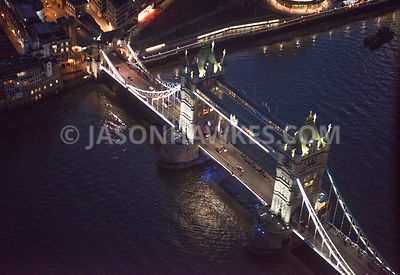 Aerial view of London, River Thames at Tower Bridge.