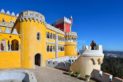 Palácio da Pena, built in the 19th century, in the forest above Sintra. A UNESCO World Heritage Site. Sintra, Portugal (MR)