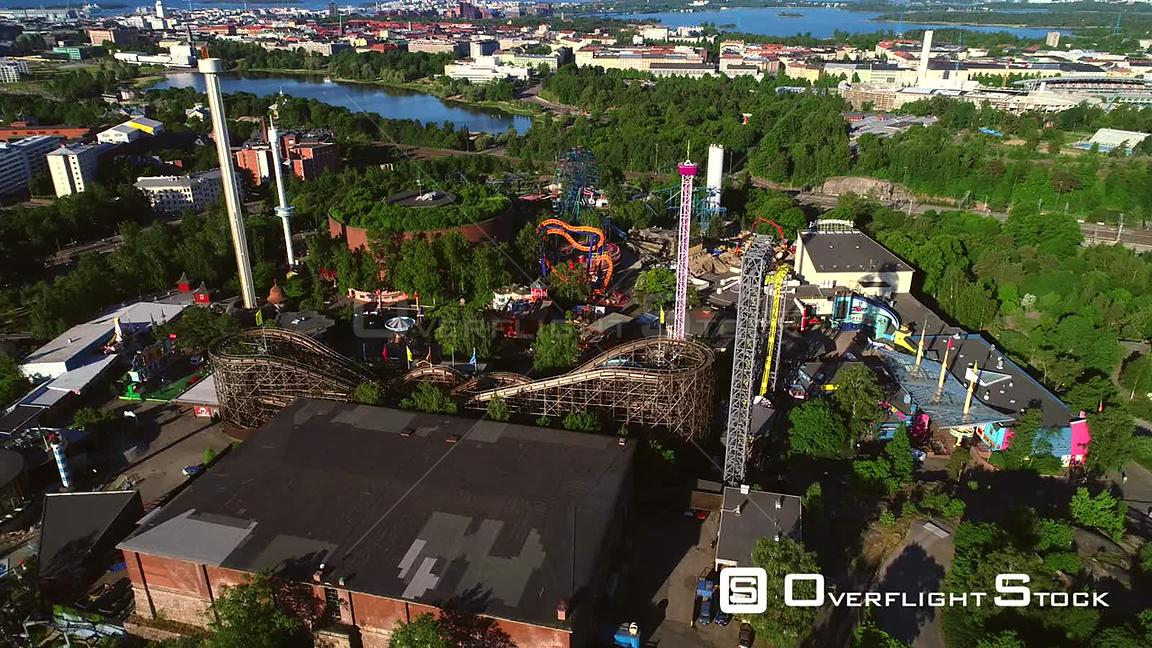 Linnanmaki, Aerial Tilt View Away of the Helsinki Amusement Park, on a Sunny Summer Morning Dawn, in Helsingfors, Uusimaa, Fi...