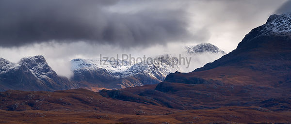 Snow capped mountains in the Scottish Highlands, Scotland, UK.